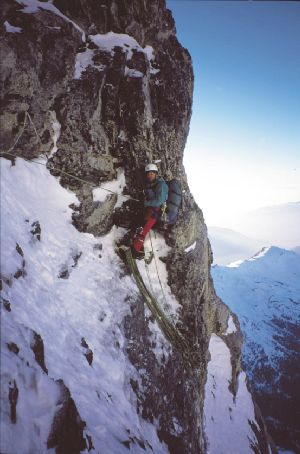 Access to the Traverse of the Gods is directly above Martin ... & EigerWand North Face Ascent March 1997